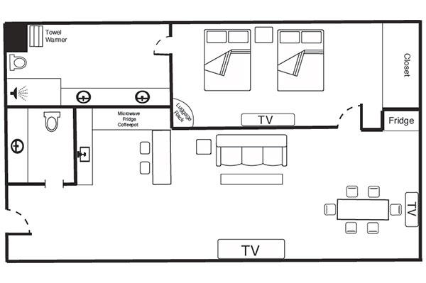 Hotel suite floor plan at The Keeter Center